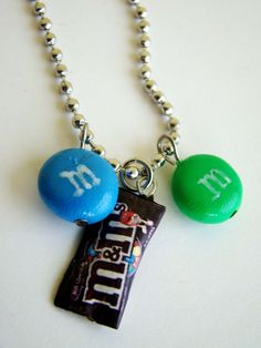 M's necklace, handmade mm's inspired bracelet, DIY, polymer clay, food, candies, cute, miniature, idea, charm, bracelet