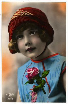 1920s Darling Little Doll Like Face Flapper Girl Deco Hand Tinted Photo Postcard | eBay