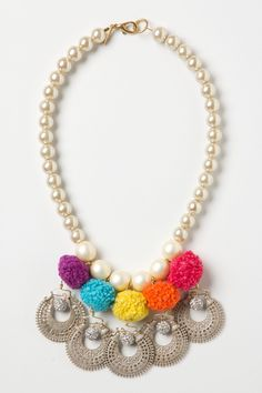 Pompearl Necklace - what a fun mix of color and pearl.