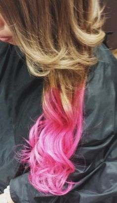 Pink!! Dip dye hair color  Extension  Photo by welina  Hitomi.yanagida