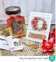 Gift ensemble by Kathy Schweinfurth. Reverse Confetti stamps: Tall Blooms. Confetti Cuts dies: Gift Card Holder Tag, Tall Blooms, Flowers for Mom, Linked Circles Cover Panel, Swirlies. RC 6x6 paper pack: Fun Times. Mother's Day gift.