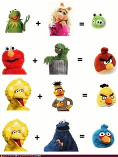 Muppemathics.  I'm not sure how the Oscar/Elmo combo ended up with a beak.