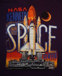 NASA Kennedy Space Center Space Shuttle Vintage 1990 Shirt Size XL VERY SHARP! #Hanes #GraphicTee