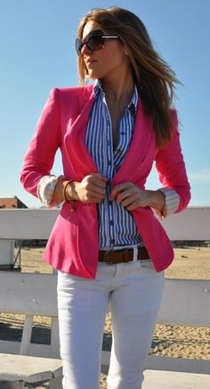 White pants, striped shirt and hot pink jacket Perfect for the office in spring
