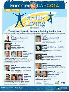 Health topics from local experts... get your info update every Tuesday at 7pm in the Murie Auditorium. Free Free Free!
