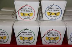 """""""LEGO Ninjago Karate Party"""" on Catch My Party. Take out containers filled with legos and Ninjago stickers as party favors"""
