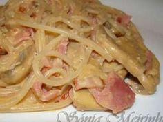 Receita Prato Principal : Esparguete com molho de natas, bacon, fiambre e cogumelos de Sonia meirinho