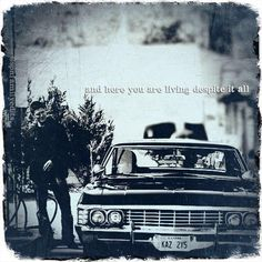 Supernatural ~ Dean Winchester and Baby (Impala) Supernatural Impala, Supernatural Bunker, Supernatural Baby, Supernatural Wallpaper, John Winchester, Winchester Brothers, Jared Padalecki, Jensen Ackles, 1967 Chevy Impala