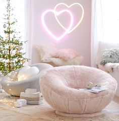 Cozy Chairs + Neon Lights = our favorite combo 💕 Tag a friend that NEEDS this in their room! Cute Room Ideas, Cute Room Decor, Teen Room Decor, Room Ideas Bedroom, Bedroom Decor, Bedroom Furniture, Furniture Design, Pink Bedroom For Girls, Teen Girl Bedrooms