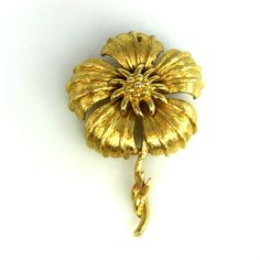 Vintage Monet Large Floral Brooch Gold Tone by TheFashionDen, $10.00