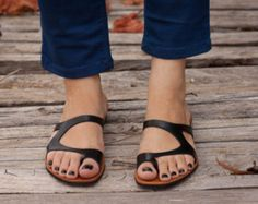 Black Leather Sandals, Black Sandals, Summer Shoes, Asymmetric Sandals, Flip-Flops , Free Shipping