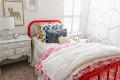 Layer bedding with bright colors and fun patterns to create a perfectly unique little girls room that will transition in to those tween years. Sponsored by HomeGoods Happy by Design.