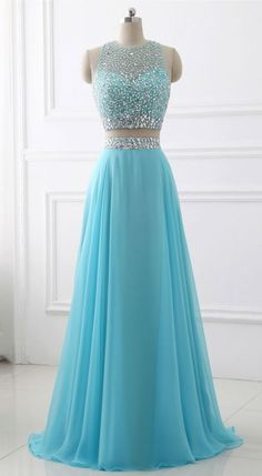 Prom dresses sleeveless - Blue Two Piece Chiffon Beaded Sparkle Long Prom Dress,Two Piece Round Neck Sleeveless Junior Party Dress,Formal Gowns – Prom dresses sleeveless Prom Dresses Two Piece, Pretty Prom Dresses, Prom Dresses For Teens, Prom Dresses Blue, Dance Dresses, Ball Dresses, Evening Dresses, Formal Dresses, Dress Long