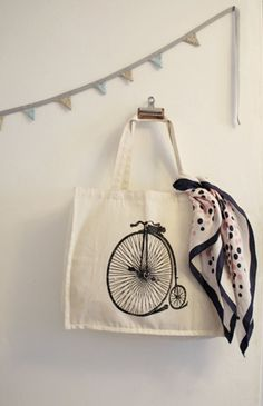 Penny Farthing Tote Bag  by Vivid Please