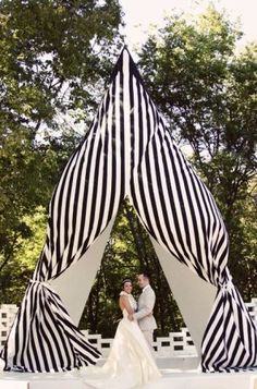 black and white striped wedding tent as the backdrop for the ceremony! If I weren& getting married in a church I would have done something like this. Wedding Crafts, Diy Wedding, Wedding Photos, Wedding Decorations, Wedding Ideas, Wedding Stuff, Ikea Wedding, Gatsby Wedding, Whimsical Wedding