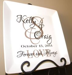 "Personalized Wedding Gift - couple's names and initial on 10-1/2"" square white plate. $35.00, via Etsy."
