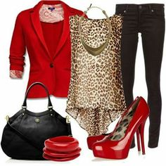 A fashion look from October 2012 featuring brown sleeveless top, red cotton jacket and AG Adriano Goldschmied. Browse and shop related looks. Leopard Print Outfits, Animal Print Outfits, Leopard Bag, Red Leopard, Cheetah Print, Classy Outfits, Chic Outfits, Fashion Outfits, Mode Plus