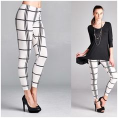 Black Tunic and Leggings Set Classic black and white plaid print leggings and solid black essential tunic set   Leggings Elastic waist, made of poly/spandex blend. Non sheer   Tunic: Made of rayon/spandex blend perfect to pair with leggings   Available in S, M, L, XL B Chic Other