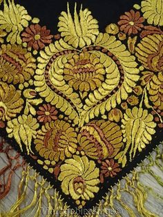 f35d339126 Stunning Antique MATYO Hungarian Silk Embroidered Table Shawl 41