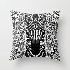 Zebra Mandala Throw Pillow