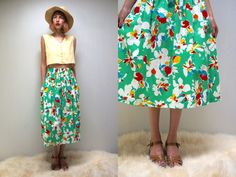 FLORAL Skirt PRAIRIE Skirt Full Skirt Cotton Skirt Midi Skirt High Waist Skirt Green Skirt Vintage 80s Skirt with Pockets Womens Skirt