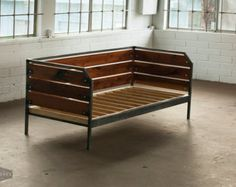 Modern Reclaimed Redwood Couch or Daybed Steel Frame by MezWorks
