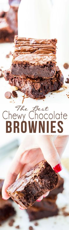 The Best Chewy Chocolate Brownies: These thick, moist, chewy chocolate brownies are the ultimate in chocolate brownies. They have a rich, fudge-y center, and the best crinkly top! They are the perfect indulgence!
