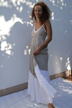 Long Linen Dress in Natural Linen with White