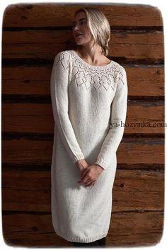 Платье спицами от Lea Petäjä. Нарядное женское платье с красивой кокеткой. Схема кокетки для платья