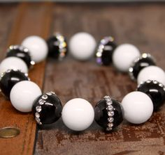 Women Bracelet Black Natural Agate with Crystal by AgouraDesign