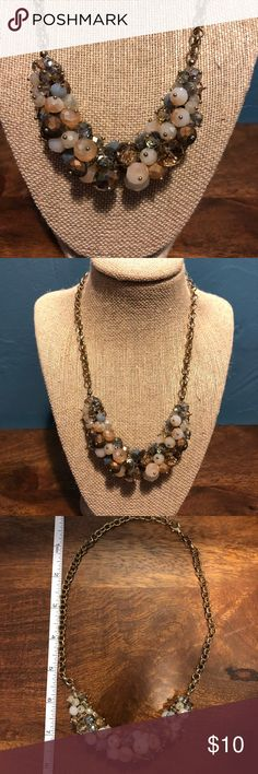 """Francesca's Statement necklace Multicolored beaded statement necklace.   Colors: clear blue, baby blue, nude, clear nude, and bronze  About 8"""" length at its longest and can be made into any shorter length you'd like. Francesca's Collections Jewelry Necklaces"""