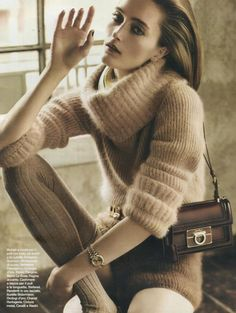 Ermanno Scervino effortless glamour in F/W 2014-15 Angora sweater with matching shorts in D - la Repubblica August issue #ermannoscervino #scervinoeditorials