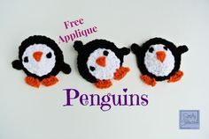 Free Penguins #Crochet Applique Pattern by SimplyCollectibleCrochet.com.  FREE PATTERN 12/14.