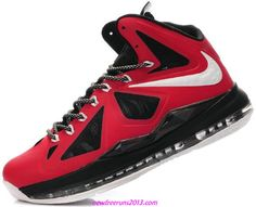 4e0acfab386f42 Lebron 10 Lebron James Shoes 2013 Pe Red Black Nike Air Max Mens
