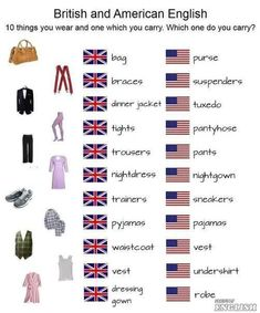 vocab - clothing British and American English