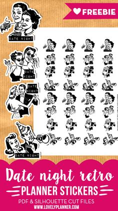 Free retro Date night planner stickers to mark down your couple activities in your planner. PDF and silhouette cut files.