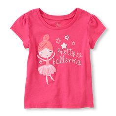 Toddler Girl's Short Sleeve 'Pretty Ballerina' Graphic Tee