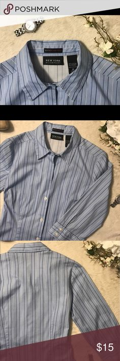 New York & Company Button Down Shirt Worn once, makes a beautiful addition to your closet! Perfect with jeans or a pencil skirt. Detail of shirt colors and lines on last pictures. New York & Company Tops Button Down Shirts
