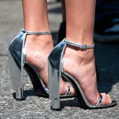 Silver shoes.