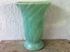 Vintage Art Pottery  McCoy Pottery Aqua Vase  by delovelyness