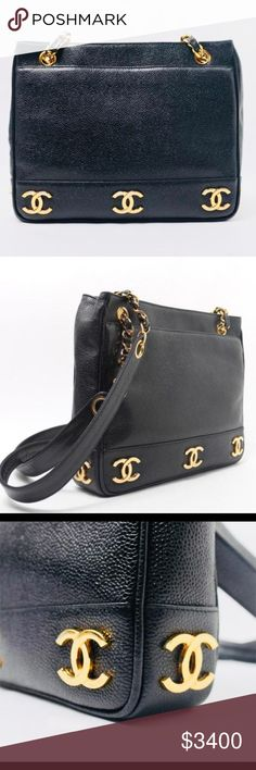 bd1216105f28 Authentic Vintage Chanel Gold Plated Motifs Tote Authentic and Gorgeous  Chanel Vintage Caviar CC Gold Plated