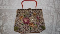 Vintage Beaded With Rhinestones Tapestry Floral Roses Design Purse Baklite Handle by FabulousFinds1 on Etsy
