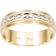 Cambridge 14k Two-tone Gold Men's Engraved Wedding Band (Size 11) ($378) ❤ liked on Polyvore featuring men's fashion, men's jewelry and men's rings