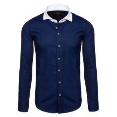 Tmavě modrá pánská košile slim fit s dlouhým rukávem a bílým límcem -  manozo.cz b375cc283f