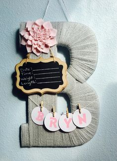 Baby Girl Birth Announcement Hospital Door Hanger Yarn Wrapped