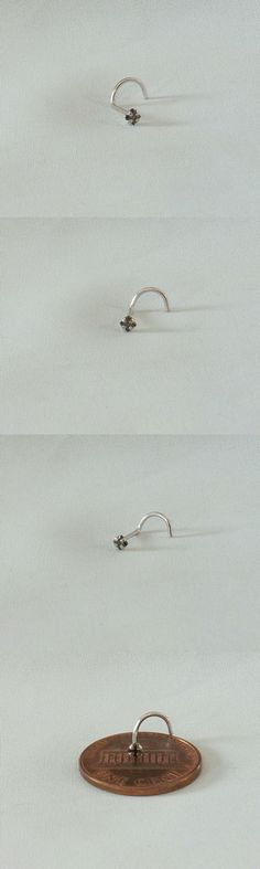 Body Piercing Jewelry 32050: 1.9Mm Square Genuine Black Diamond 14K White Gold Nose Screw Ring Twist 20G 7Pt -> BUY IT NOW ONLY: $50 on eBay!