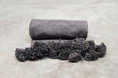 cotton pompom blanket dark grey