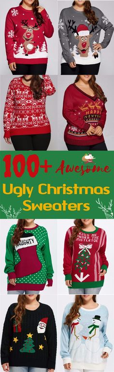 100+ Awesome Ugly Christmas Sweaters|Start at $10 | Coupon Code: SDPS | Plus Size | DIY Christmas | DIY Sweaters | Merry Christmas | Happy New Year | Party Outfit | Sammydress.com