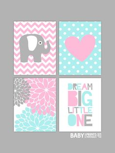 Baby Girl Nursery art prints, Set of 4 11x14. Elephant, Heart, Dream Big Little One