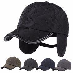 250134d2cf695 Men Male Earflap Earmuffs Water Proof Baseball Cap Adjustable Blank Golf  Sport Outdoor Hat